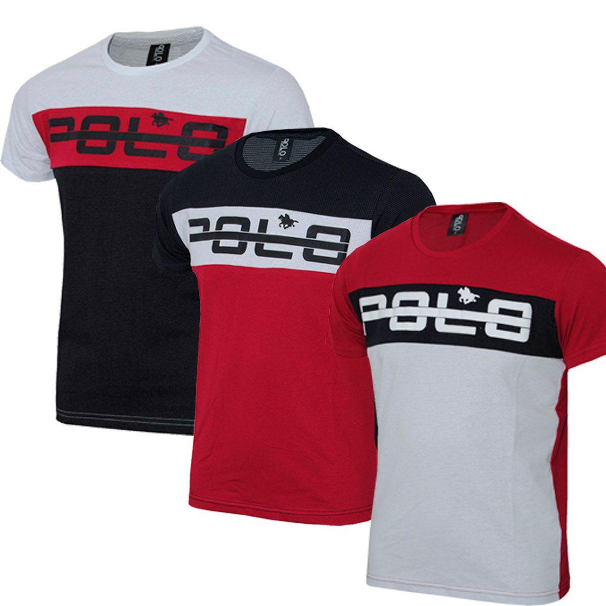 Camiseta Masculina Kit com 03 Plus size Estampada