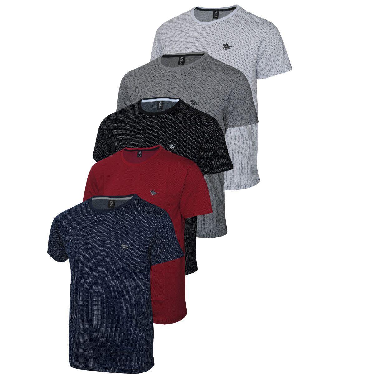 Camiseta Plus Size Kit com 05 logo Metalizado