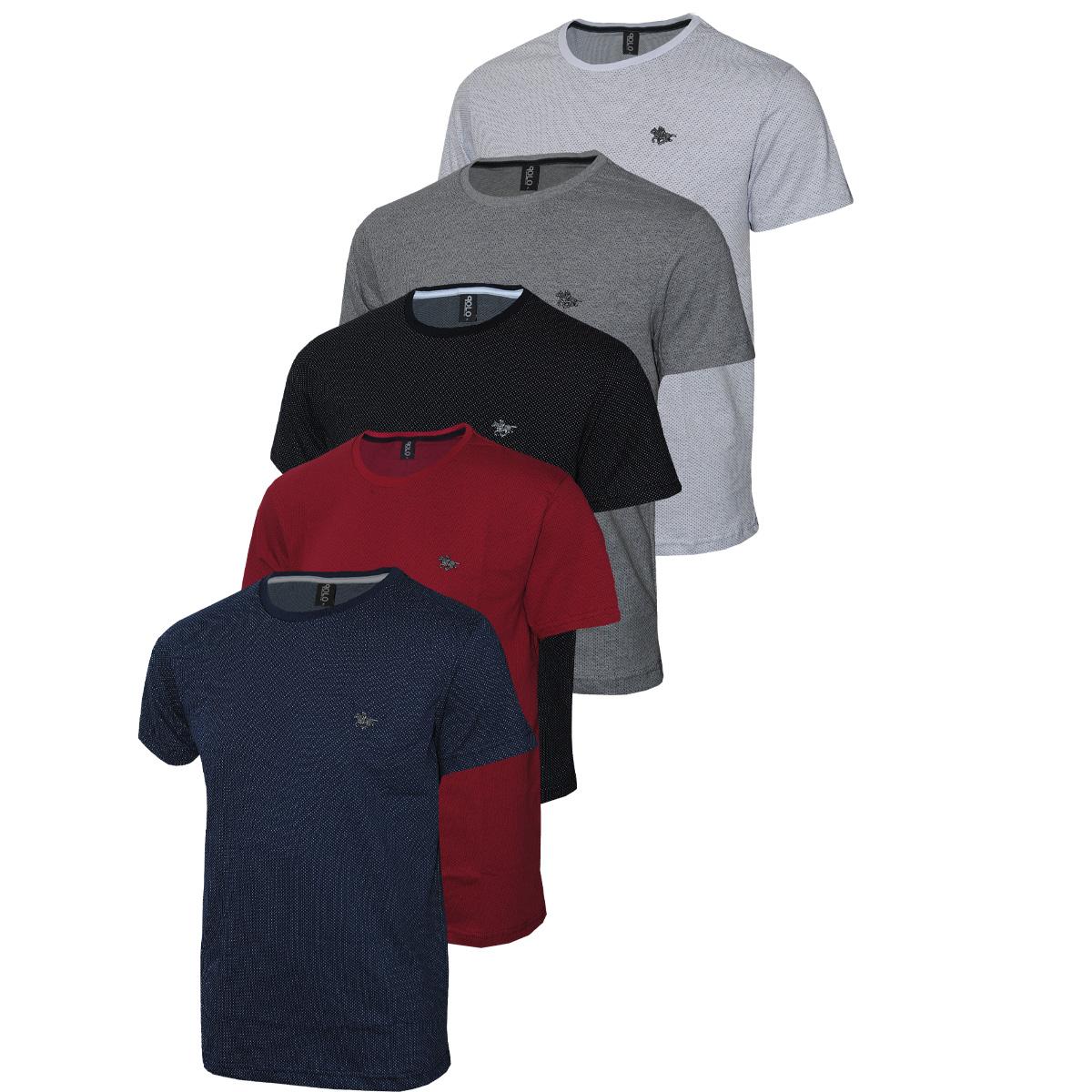 Conjunto com 05 Camisetas Malha Pontilhada e Logo em Metalizado Polo RG518