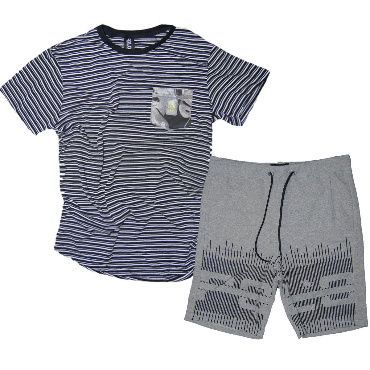 Kit Bermuda Masculina Cinza e Camiseta Swag