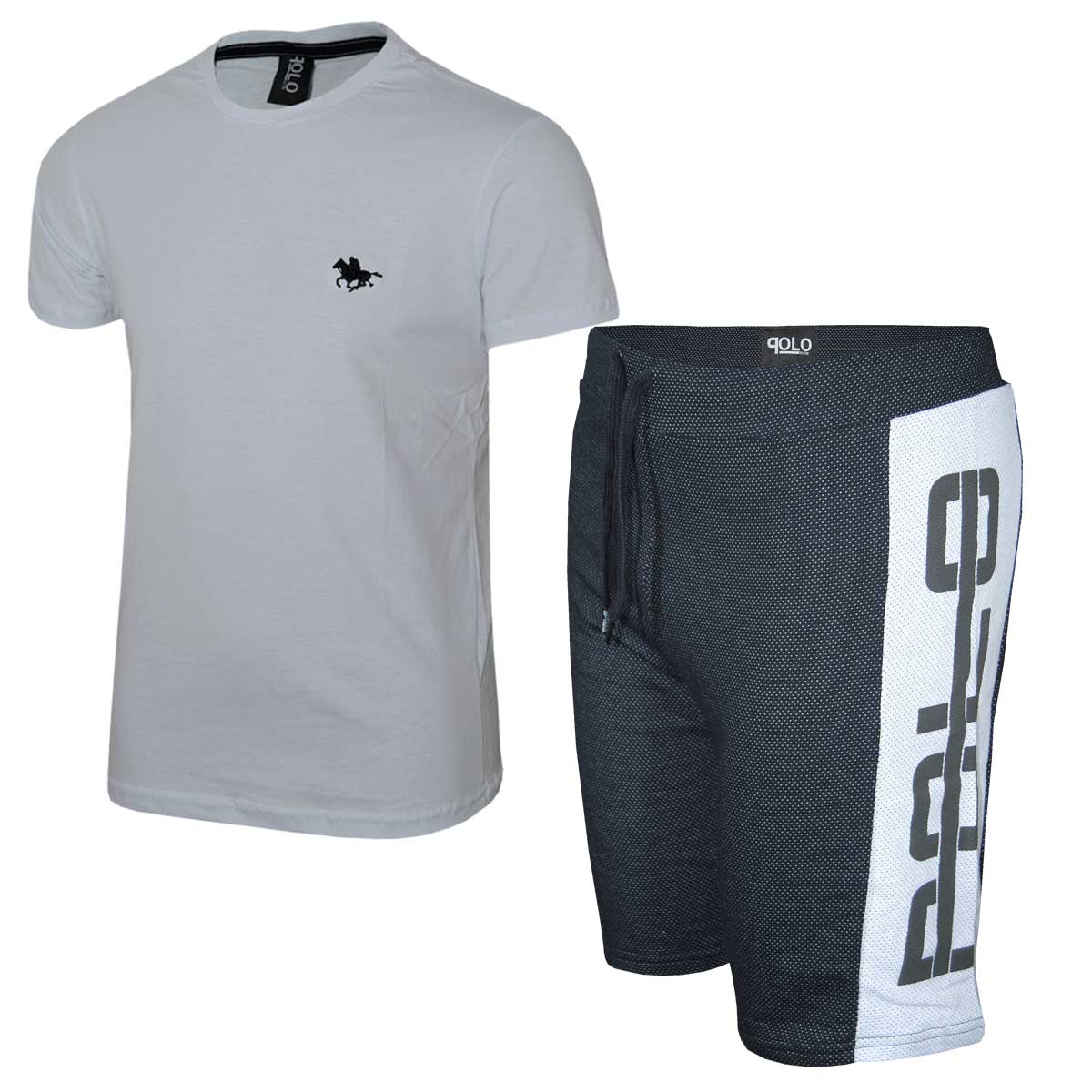 Kit Camiseta Branca e Bermuda Preta Polo RG518