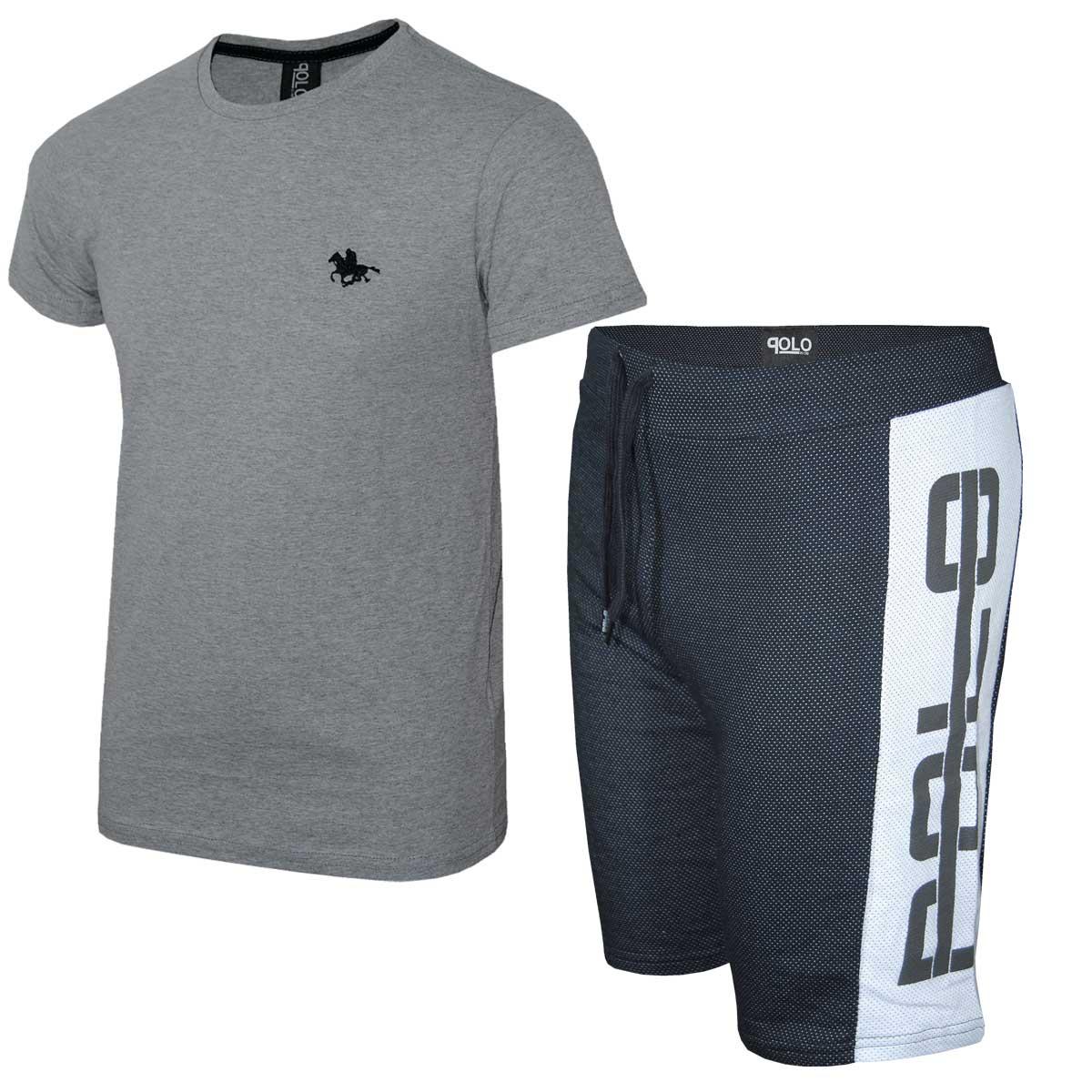 Kit Camiseta Cinza e Bermuda Preta Polo RG518