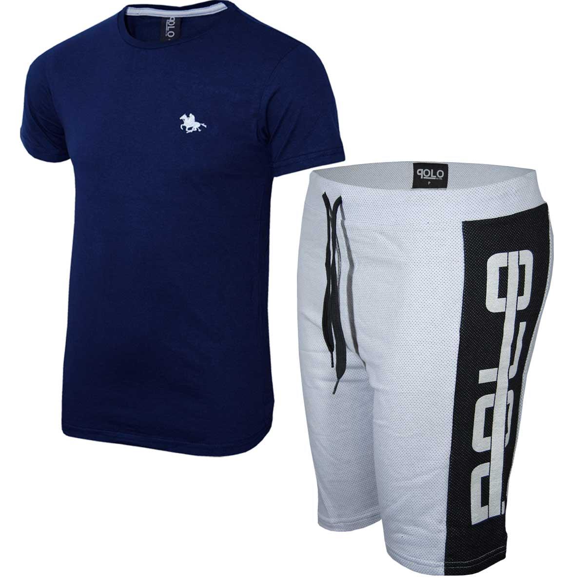 Kit Camiseta Marinho e Bermuda Branca Polo RG518