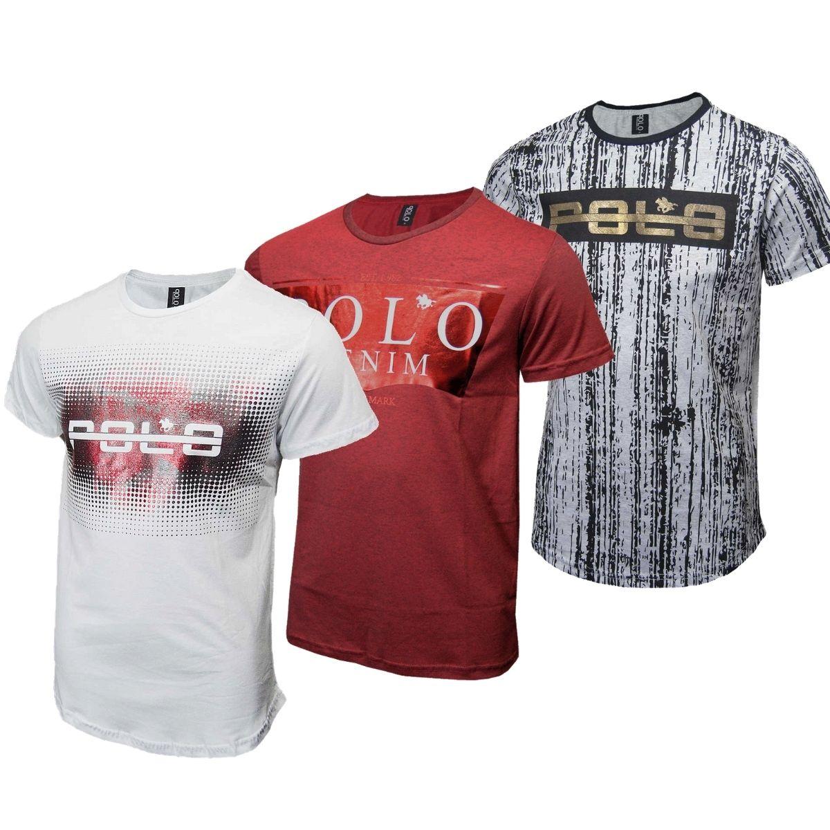 Kit Camiseta Masculina Camisetas estampadas Polo RG518