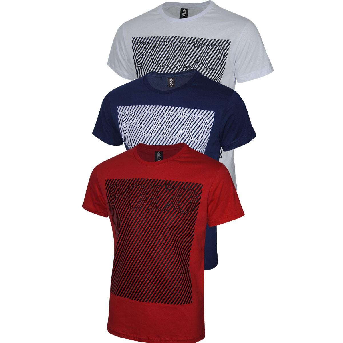 Kit Camiseta Masculina Com Estampa em Silk Polo