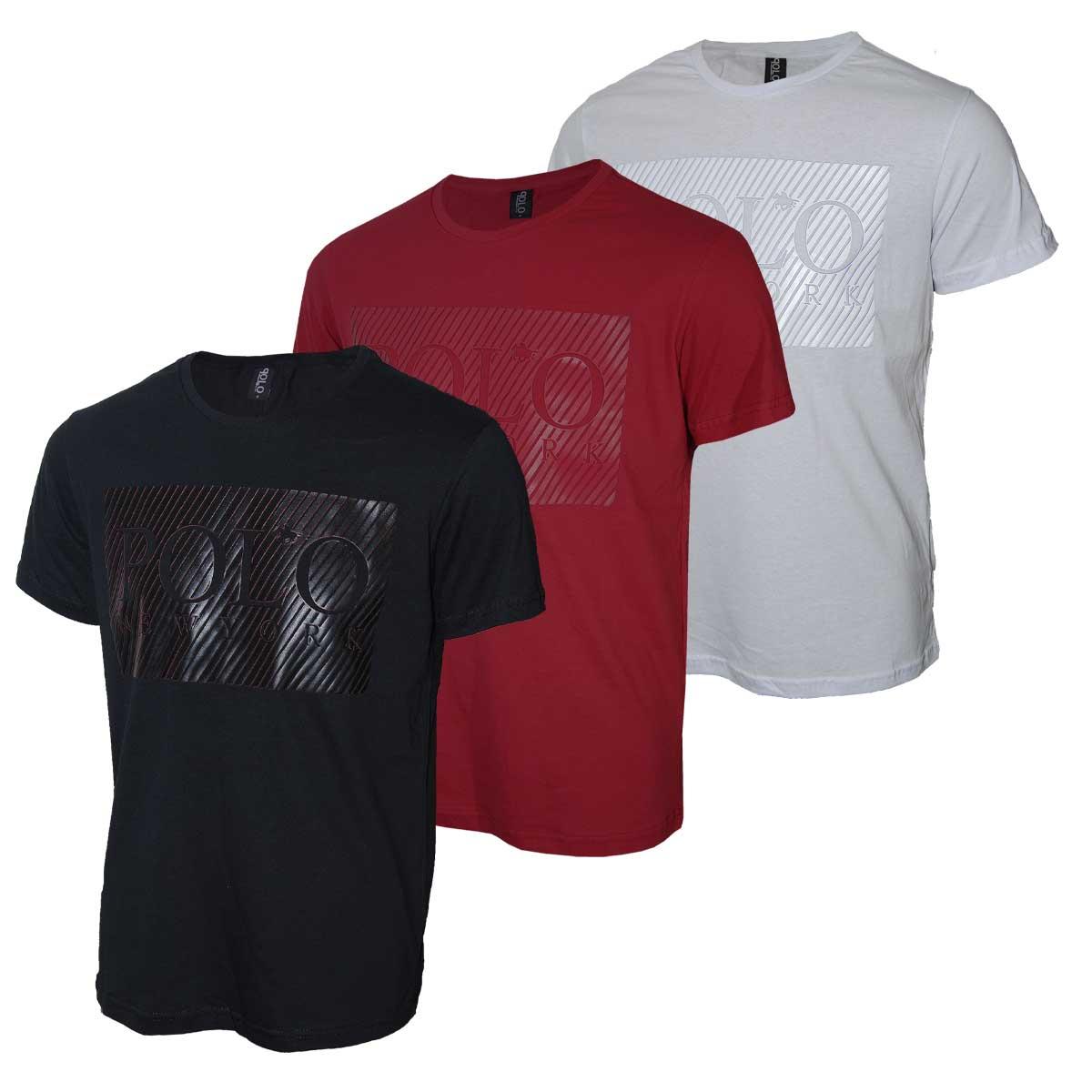Kit Camiseta Polo Rg518 com Estampa Relevo