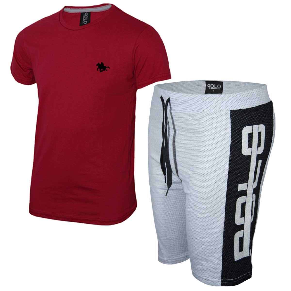 Kit Camiseta Vermelha e Bermuda Branca Polo RG518
