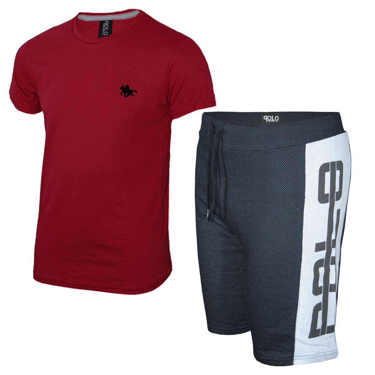 Kit Camiseta Vermelha e Bermuda Preta Polo RG518