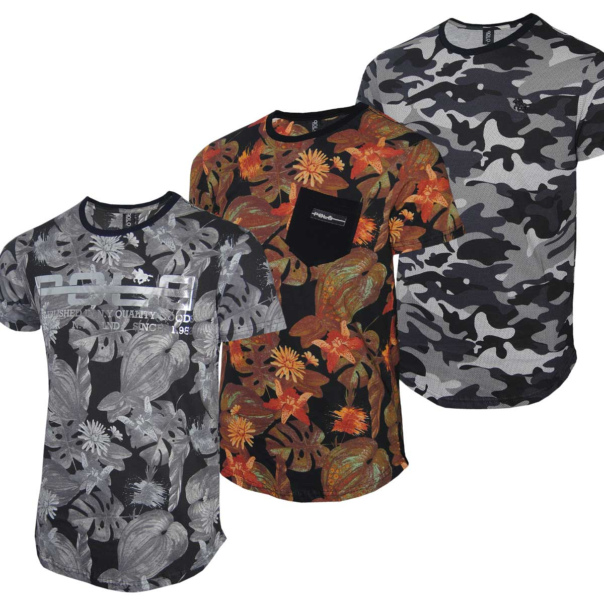 Kit Camisetas Masculinas Floral e Camuflada