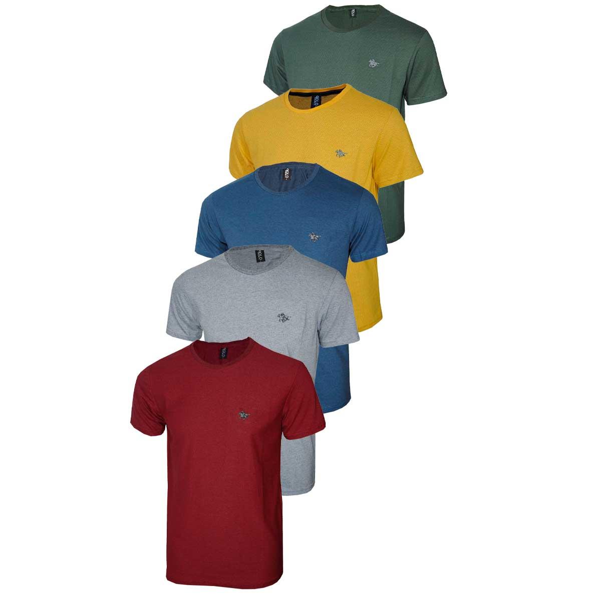Kit Camisetas Masculinas Malha com Logo Metalizado