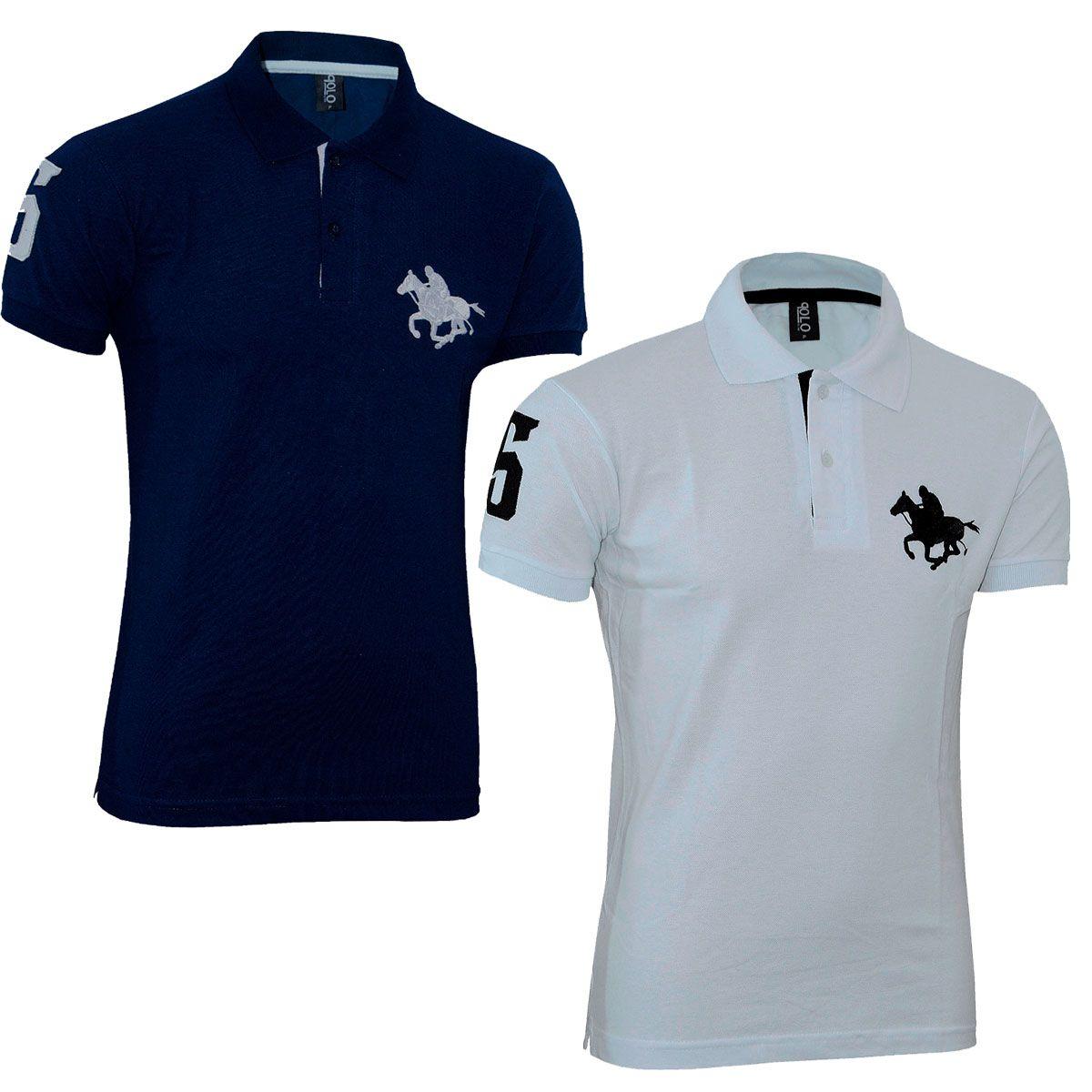 Kit com 02 Polos Tradicionais da Marca Branco e Azul Marinho