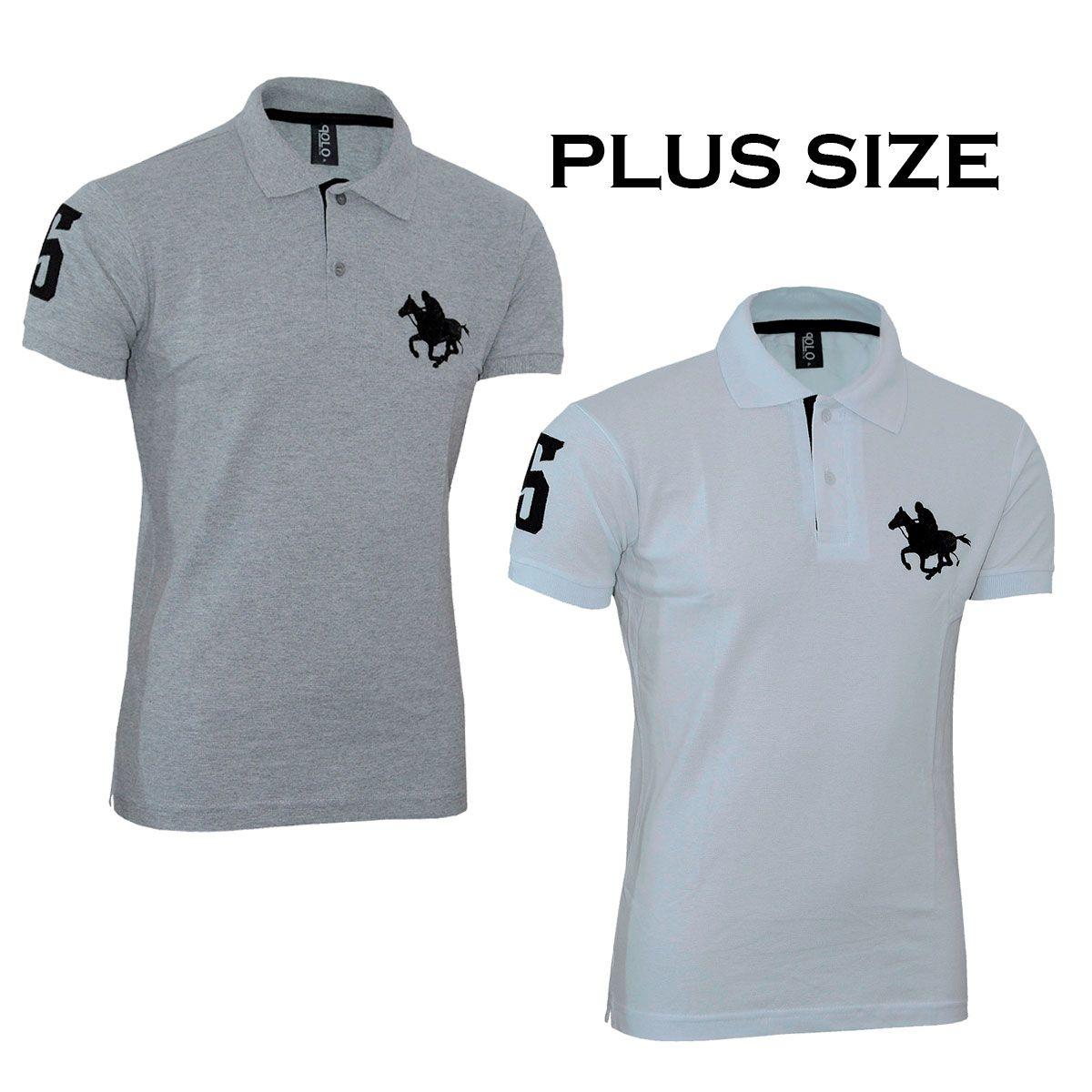Kit com 02 Polos Tradicionais da Marca Branco e Cinza Plus Size
