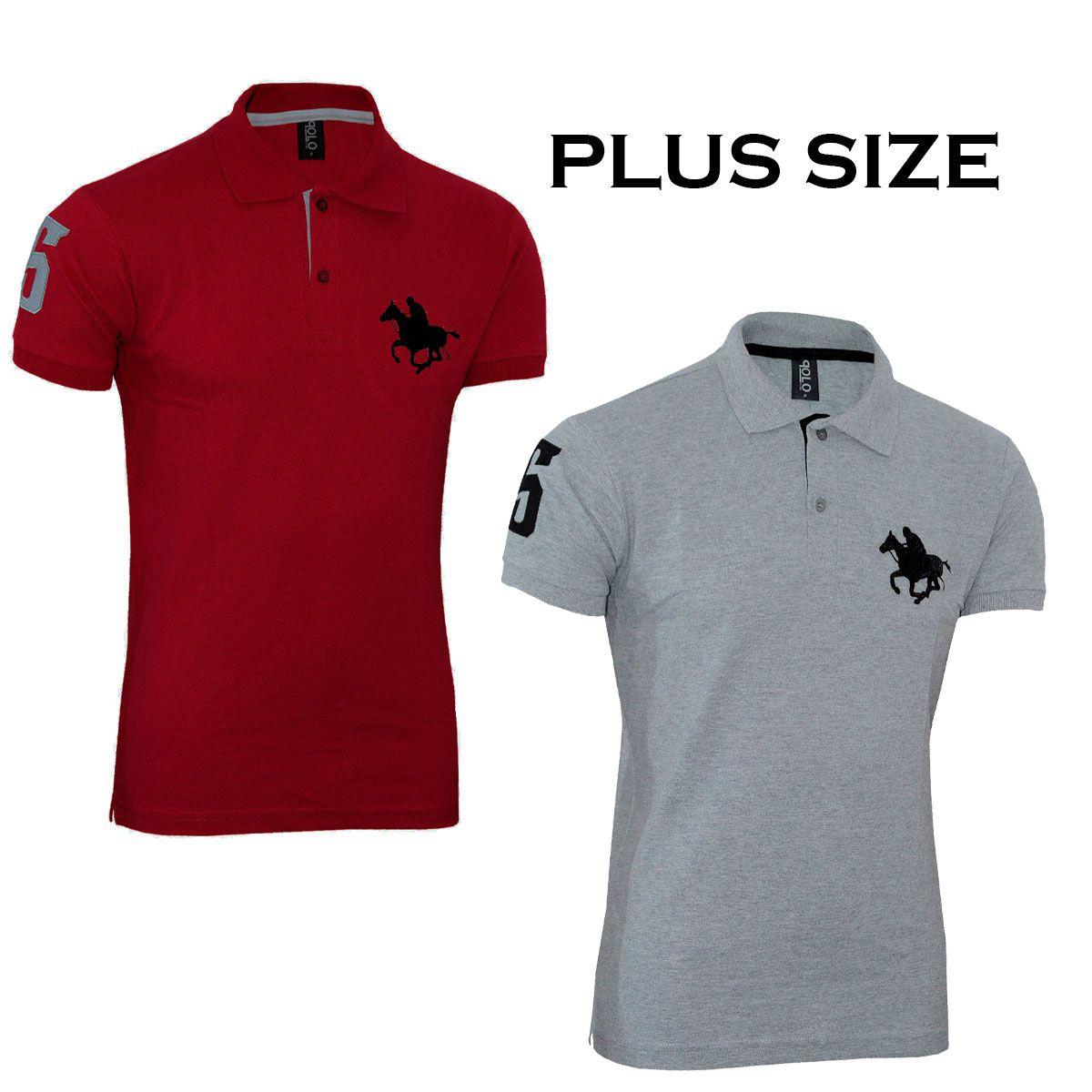Kit com 02 Polos Tradicionais da Vermelho e Cinza  Plus Size