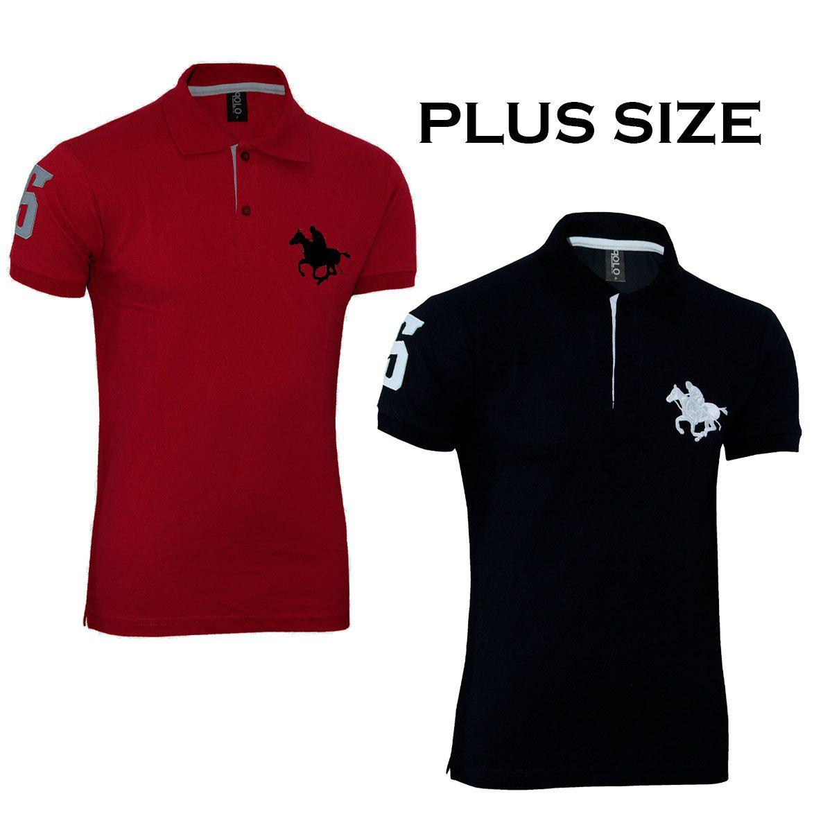 Kit com 02 Polos Tradicionais da Vermelho e Preto  Plus Size