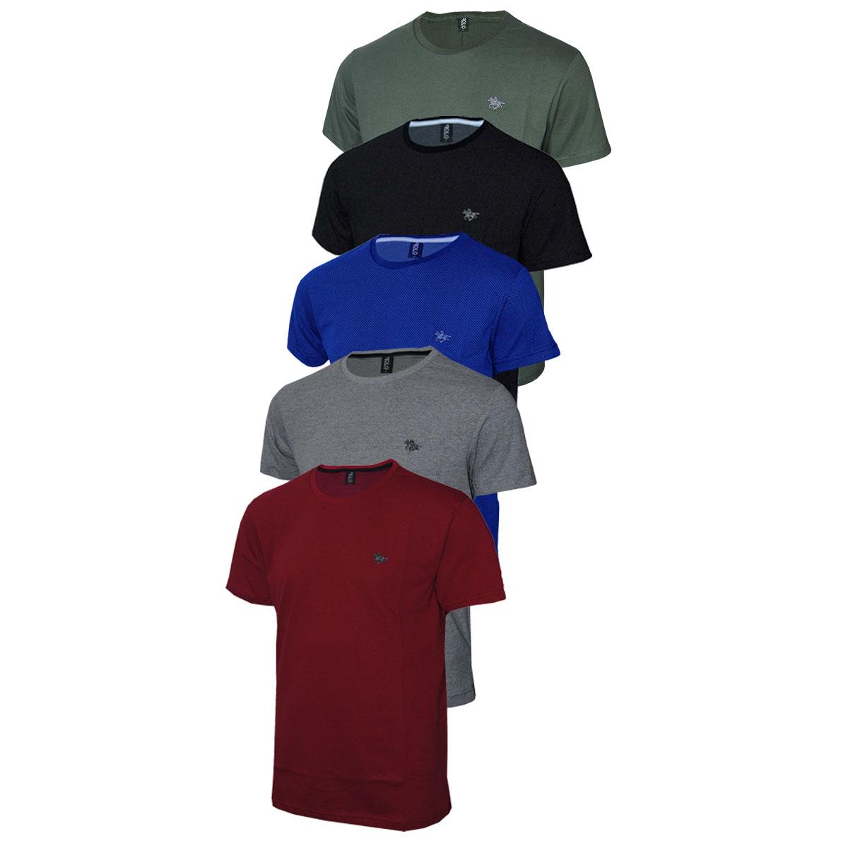 Kit com 5 Camisetas Masculina Plus Size com Logo Metalizado