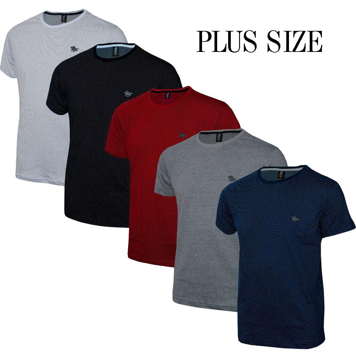 Kit Plus Size Camiseta Masculina em Malha Pontilhada e Cavalo em Metal