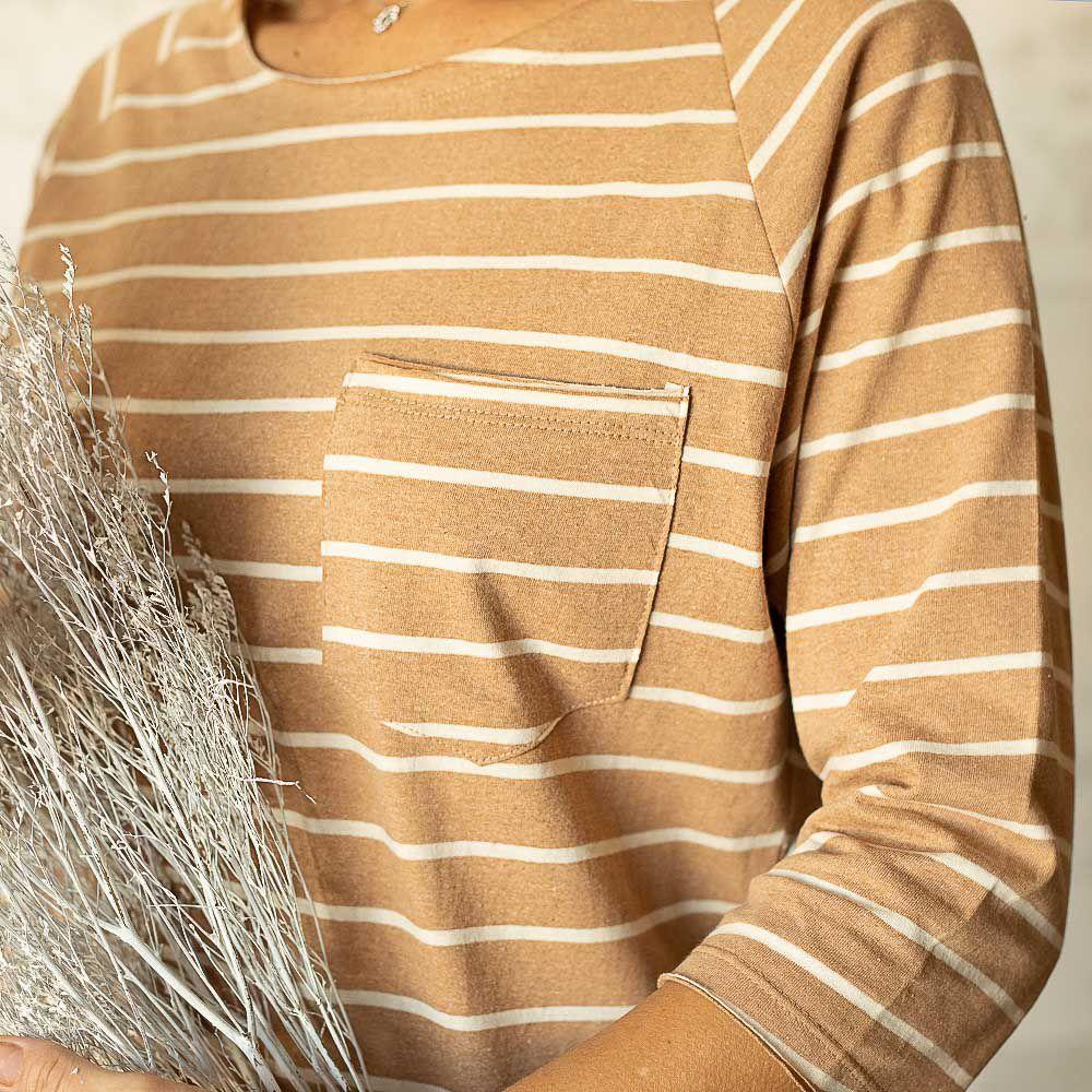 Blusa Ana 3/4 - Listra Marrom