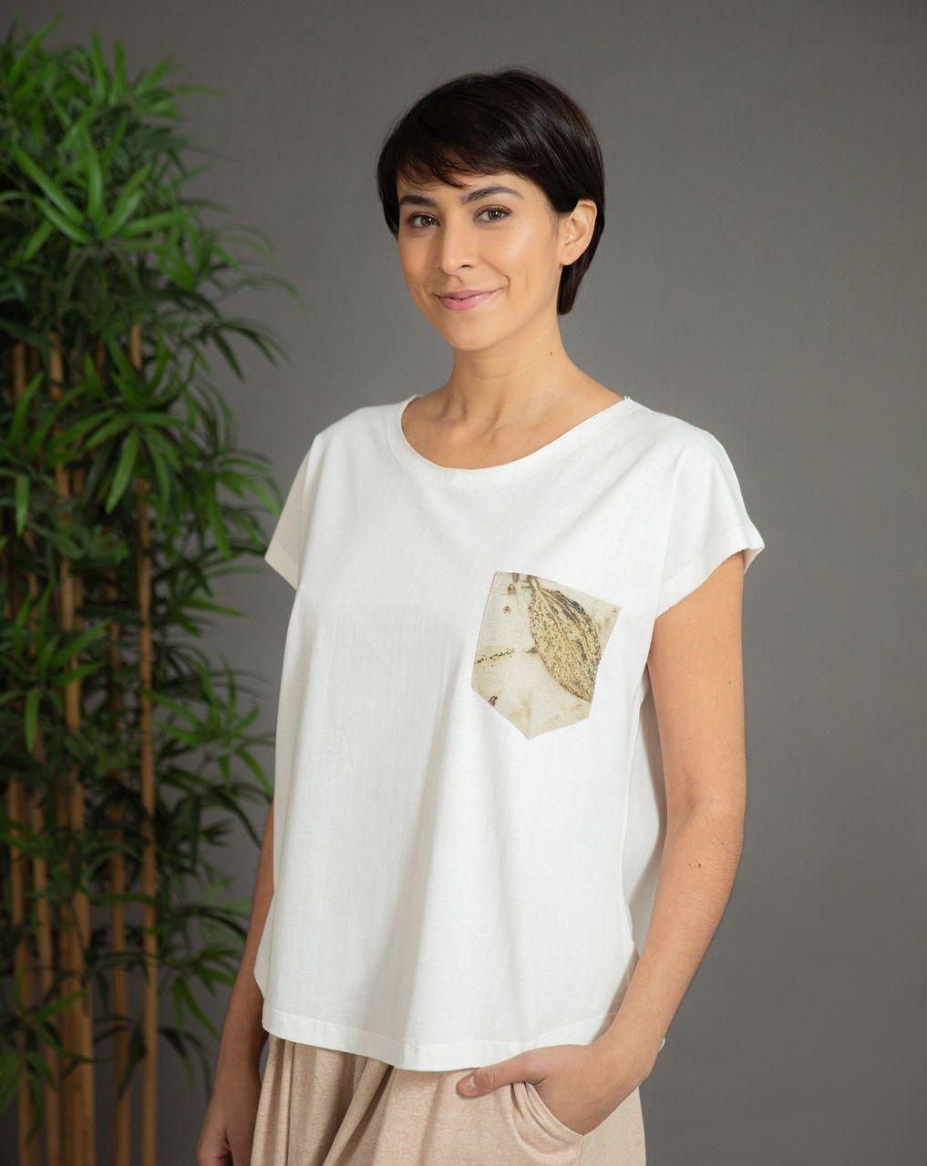 Blusa Ana Cavada Linho - Algodão Organico e Impressão Botânica