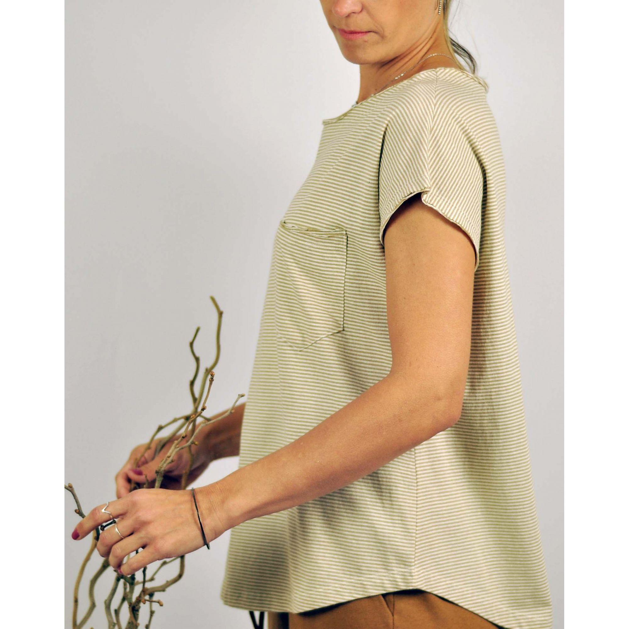 Blusa Ana Cavada Listra Verde - Algodão Orgânico Colorido Natural