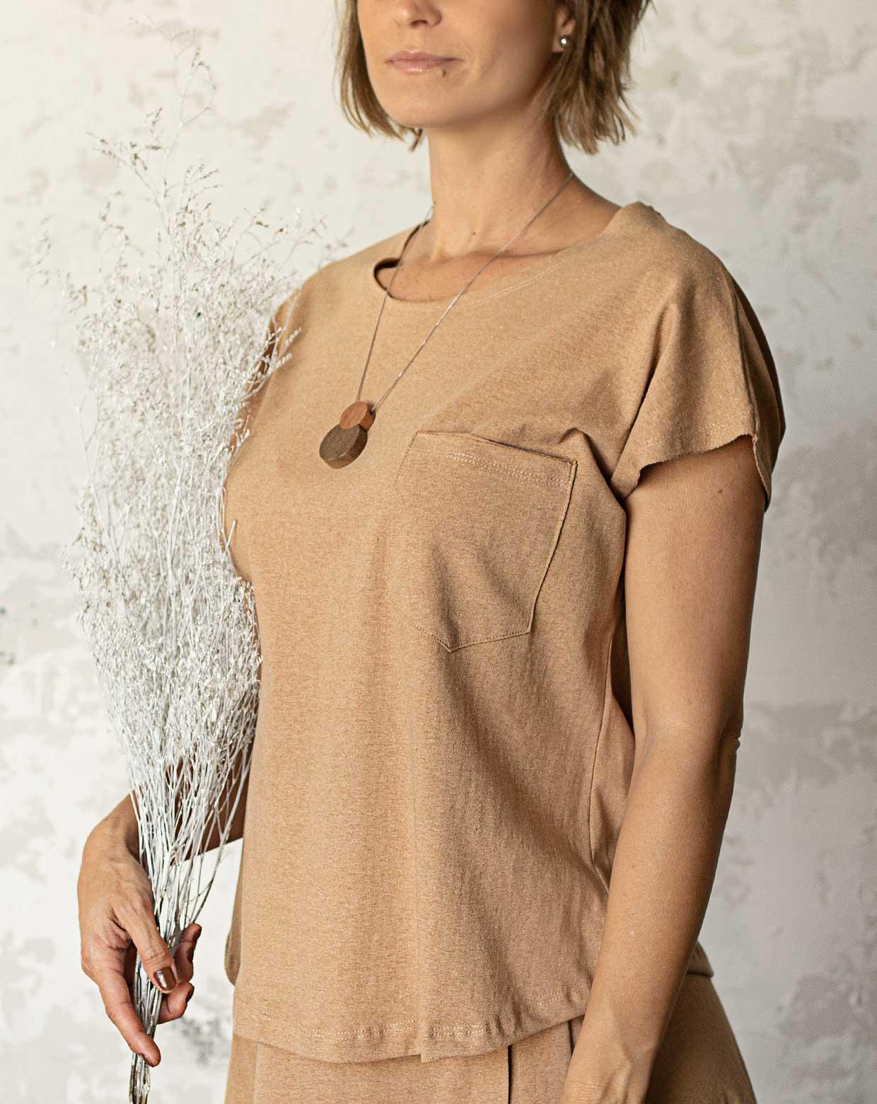Blusa Ana Cavada Marrom - Algodão Orgânico Colorido Natural