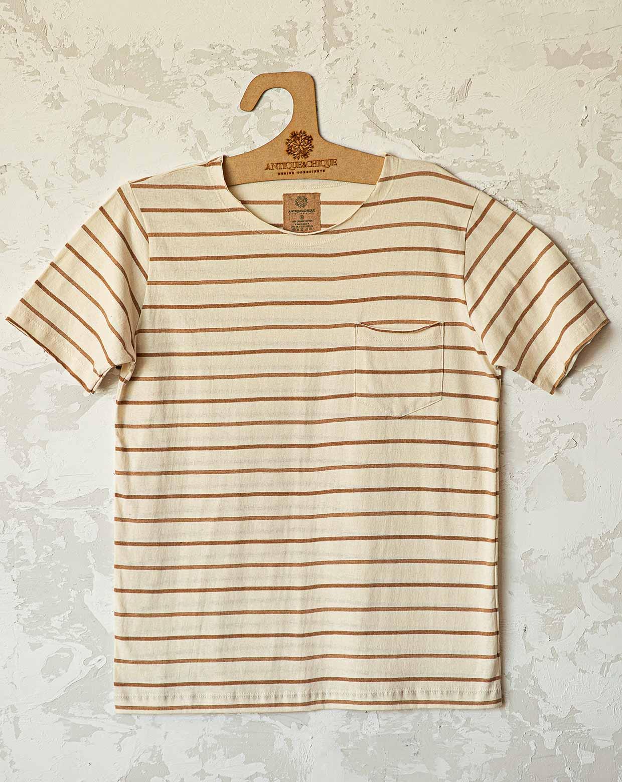 Camiseta Jorge Listra Cru - Algodão Orgânico Colorido Natural