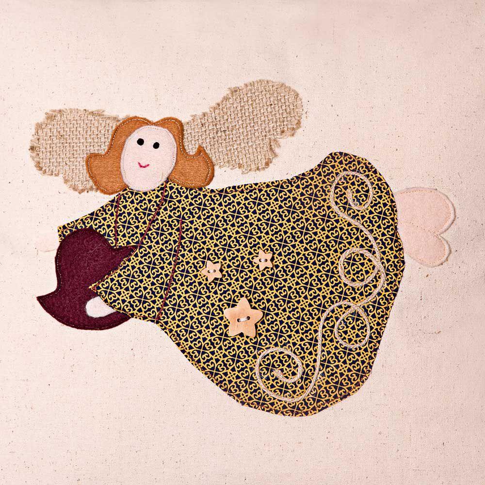 Capa de Almofada Bordada  - Algodão Orgânico - Anjo Vermelho