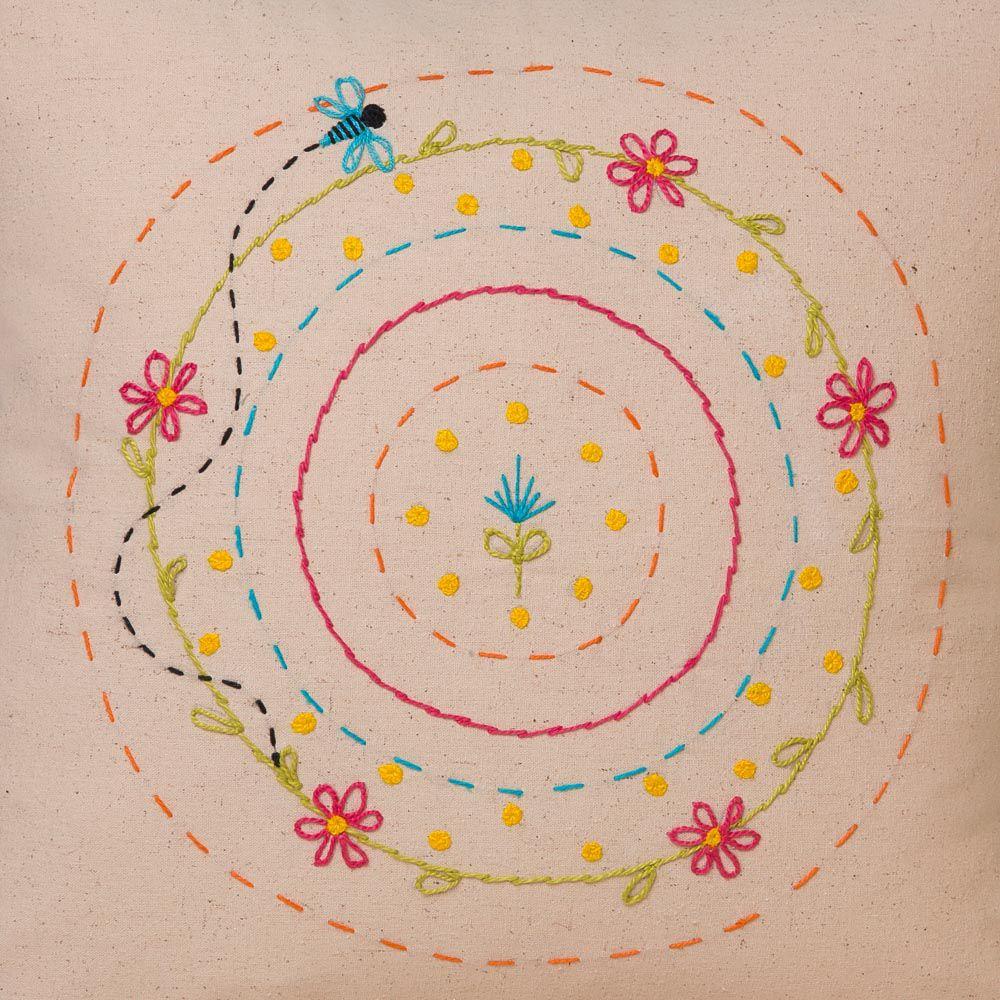 Capa de Almofada Bordada - Algodão Orgânico -