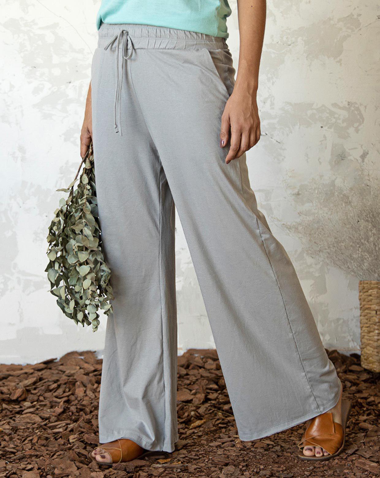 Pantalona Rosa Eco Cinza - Tecido Ecológico
