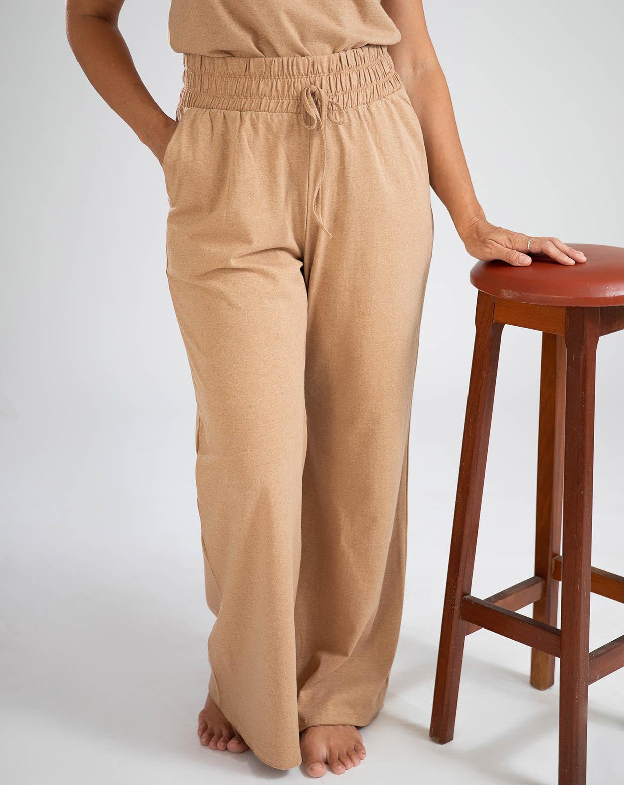 Pantalona Rosa  Marrom - Algodão Orgânico Colorido Natural