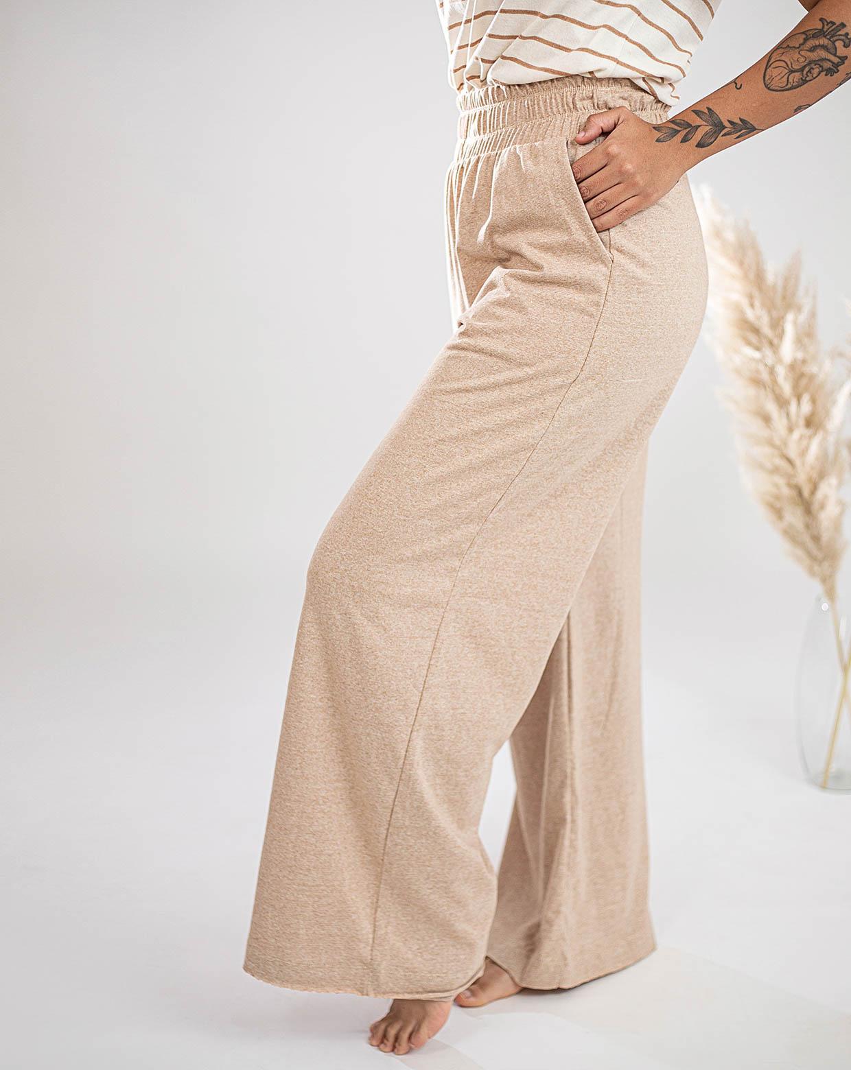 Calça Pantalona Rosa Mescla - Algodão Orgânico