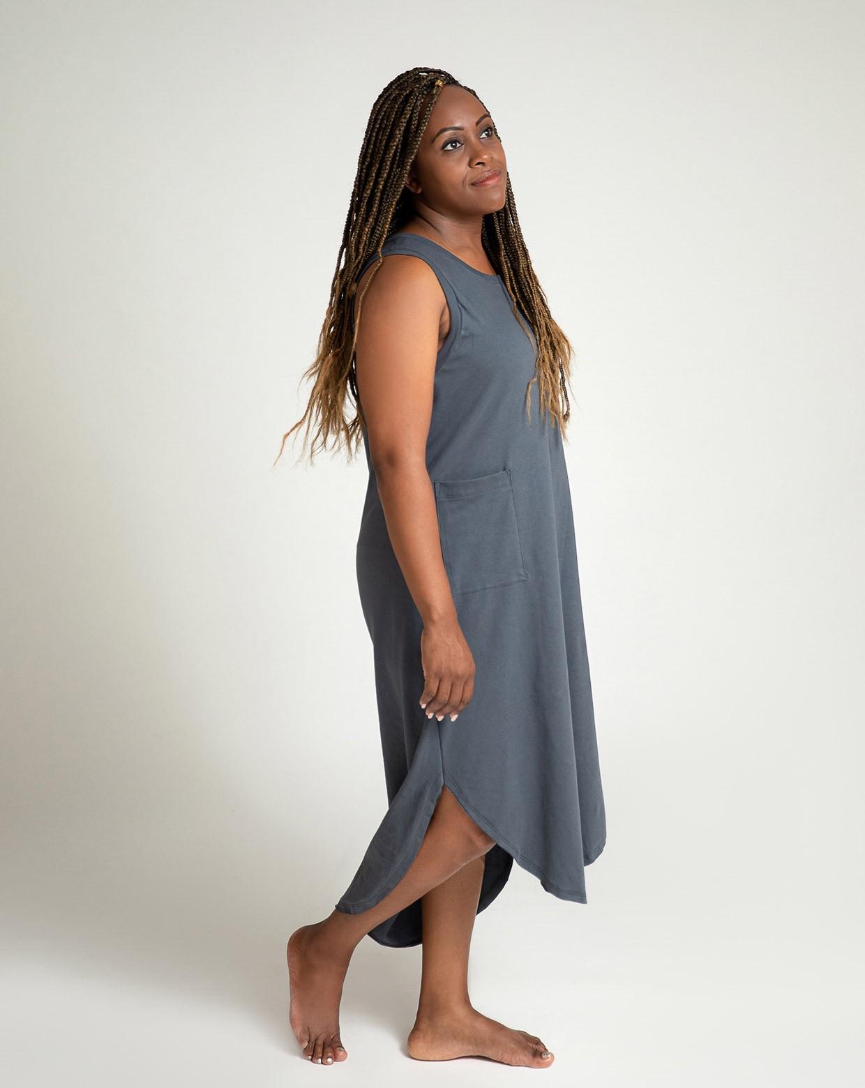 Vestido Ágata Cinza - Algodão  Sustentável