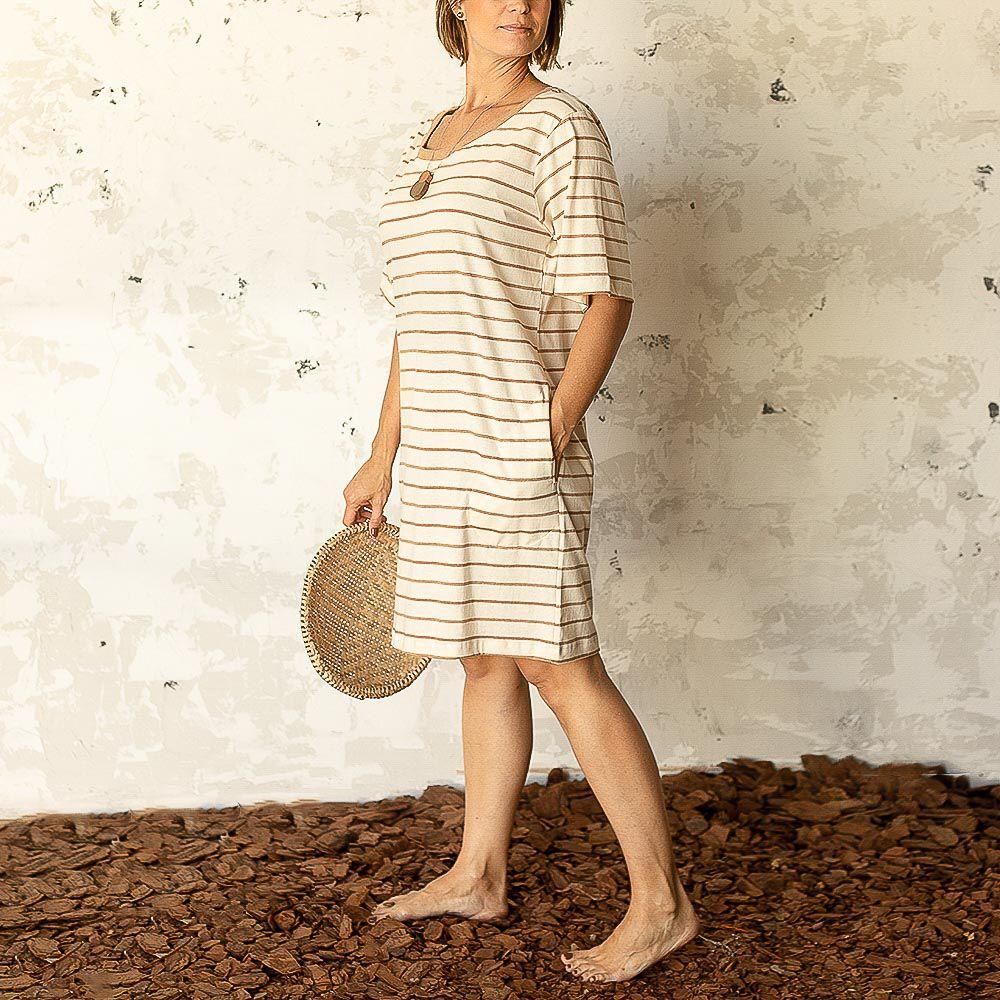 Vestido Bella - Listra Marrom