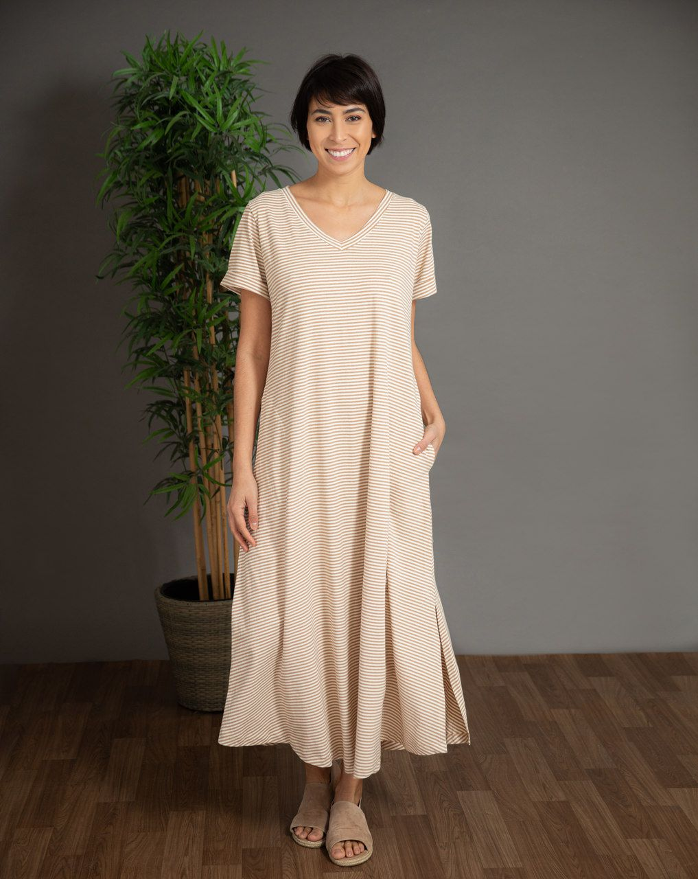 Vestido Carmem Listra - Algodão Orgânico Colorido Natural