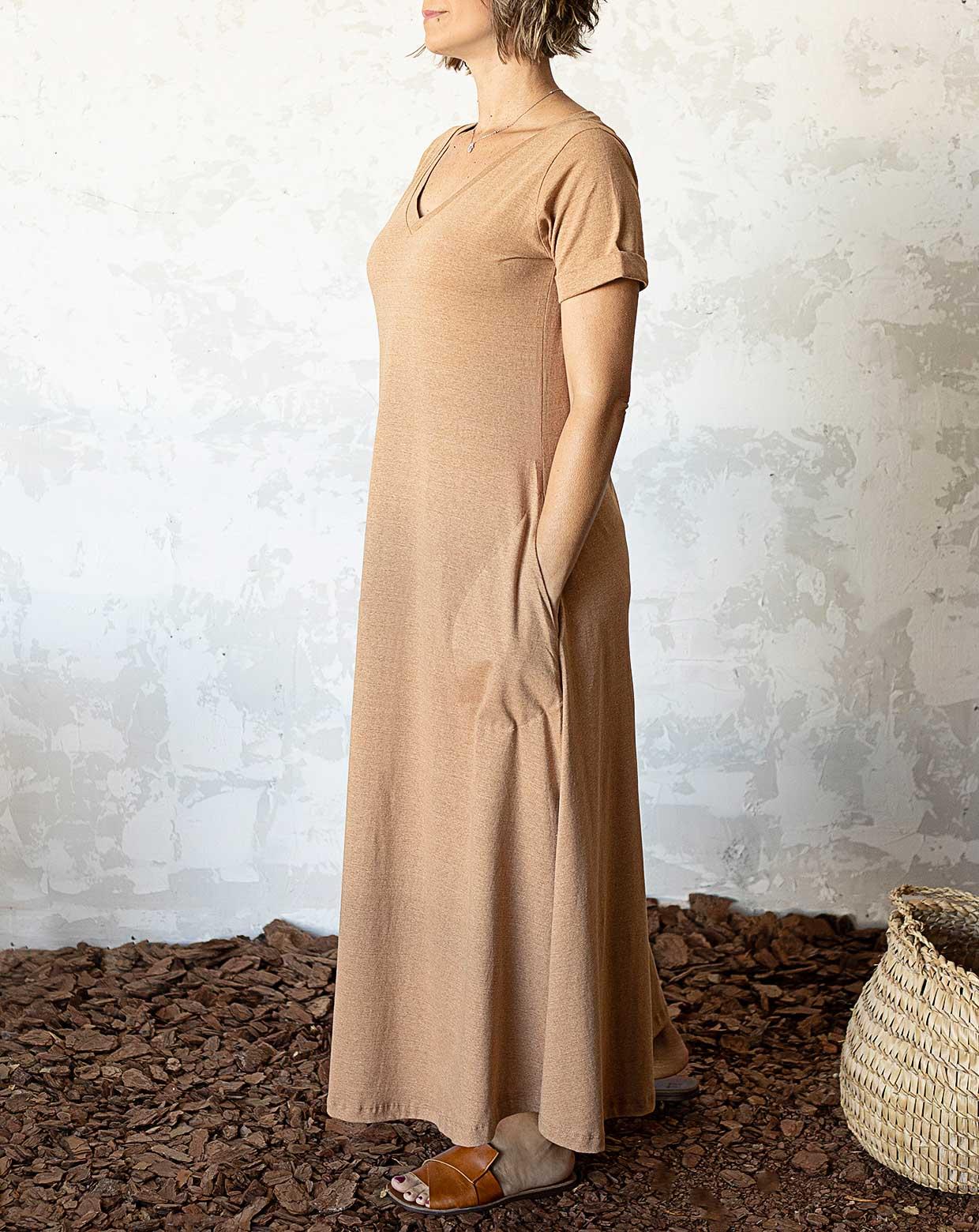Vestido Carmem Marrom - Algodão Orgânico Colorido Natural