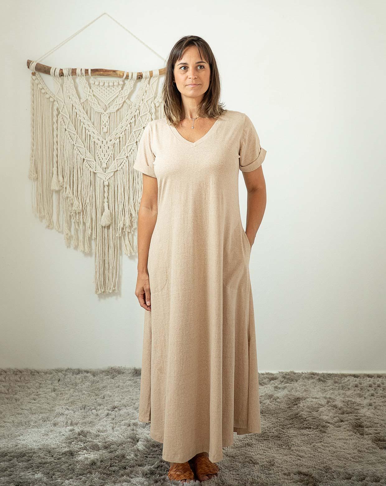 Vestido Carmem Mescla - Algodão Orgânico Colorido Natural