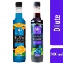Kit 2 XAROPES DILUTE PREMIUM DRINKS E DOCES 500ML Mirtilo,Blue Curaçau