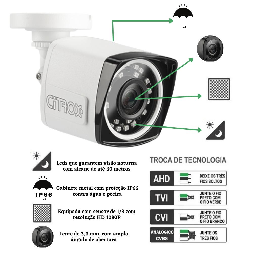 Câmera De Segurança Bullet 4X1 2.0MP Citrox 1080MP