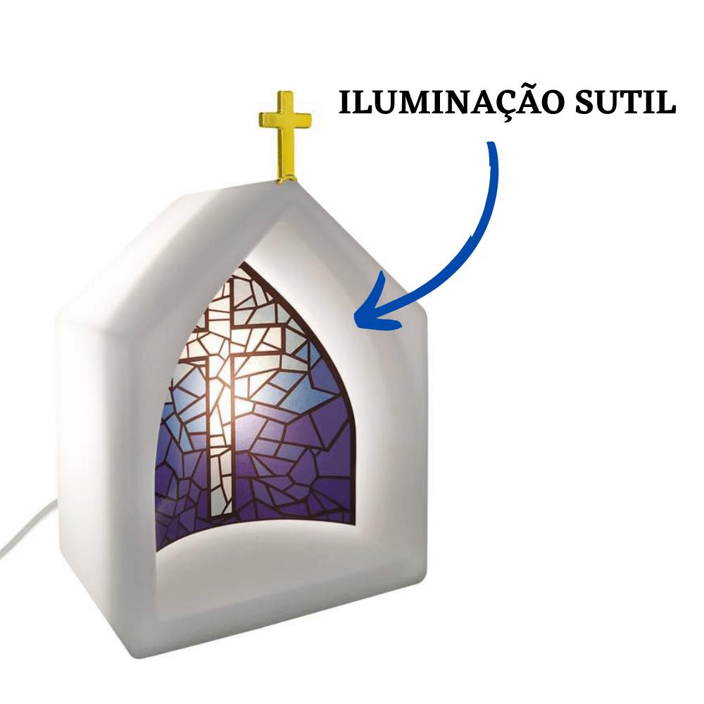 Capela Oratório Iluminado Vitral Azul Branco