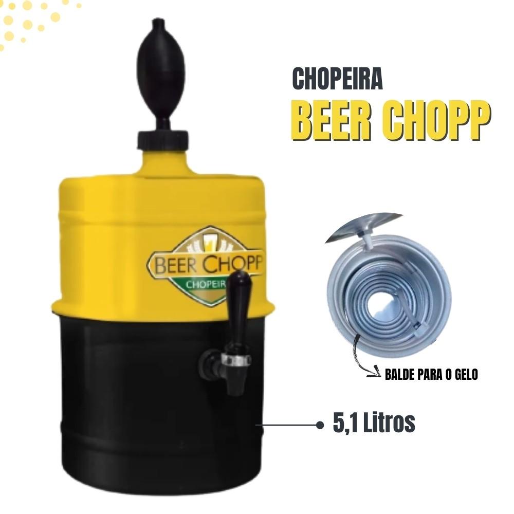 Chopeira Amarela Preta Portátil Residencial Gelo Completa 5,1 L