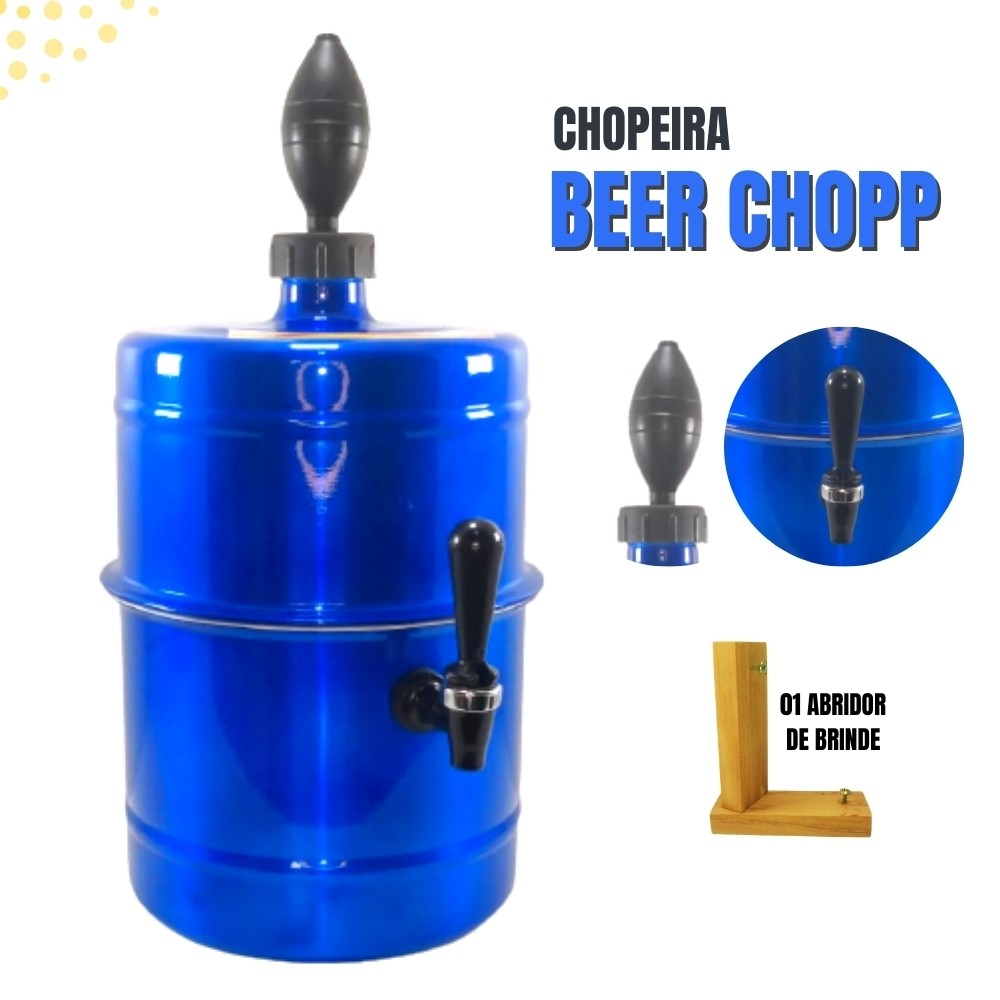Chopeira Azul Portátil Residencial Gelo Completa 5,1 L
