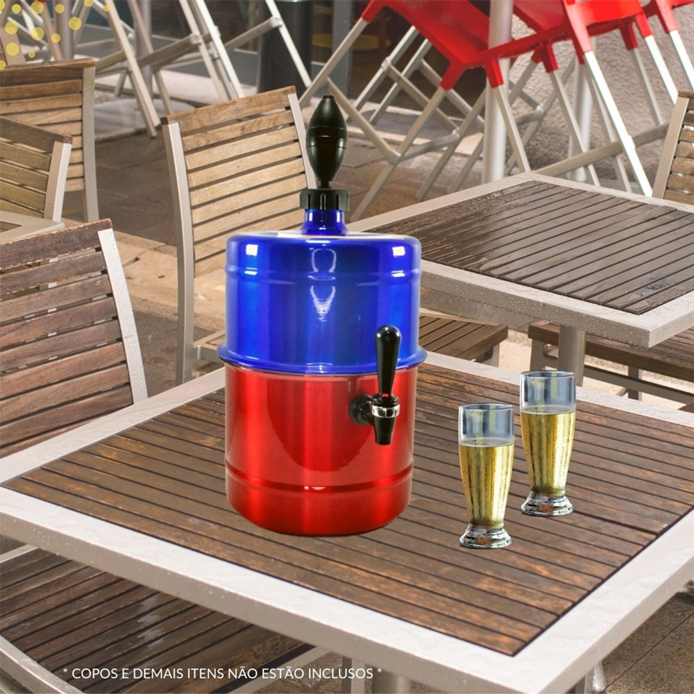 Chopeira Azul Vermelha Portátil Residencial Gelo Completa 5,1 L