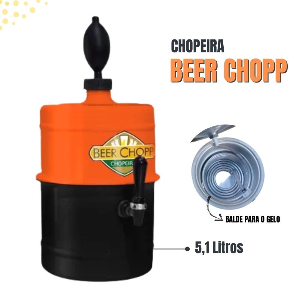 Chopeira Laranja Preta Portátil Residencial Gelo Completa 5,1 L