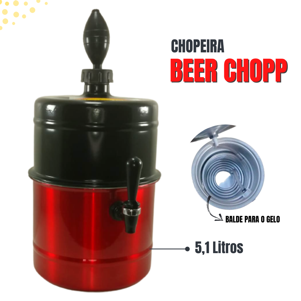Chopeira Preta Vermelha Portátil Residencial Gelo Completa 5,1 L