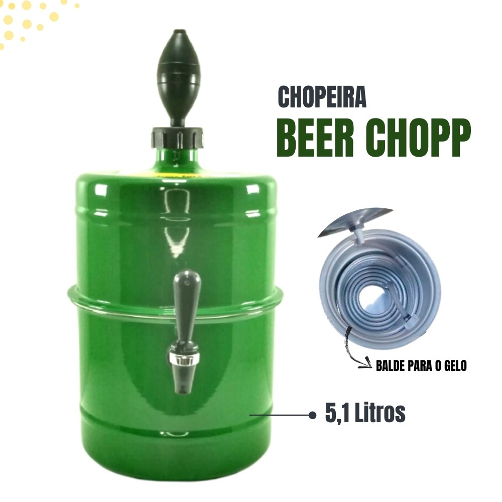 Chopeira Verde Portátil Residencial Gelo Completa 5,1 L