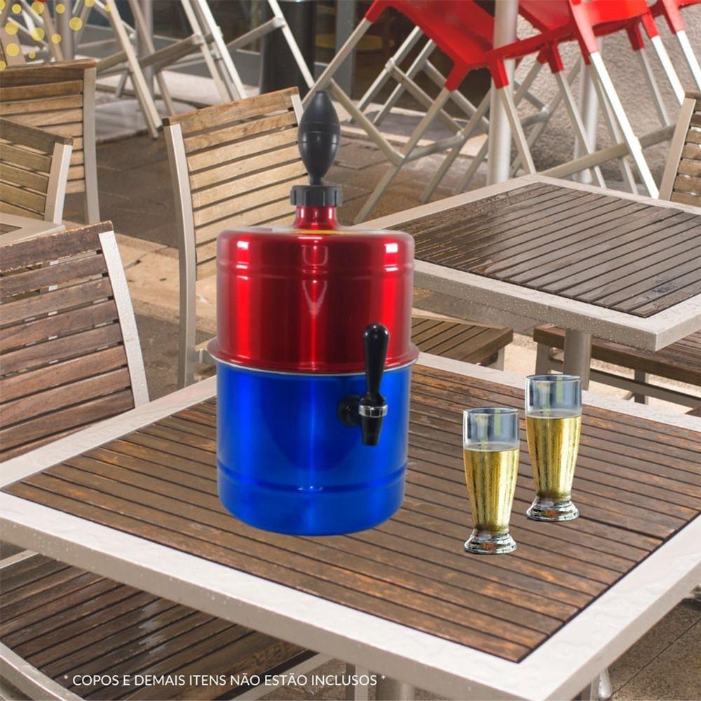 Chopeira Vermelha Azul Portátil Residencial Gelo Completa 5,1 L