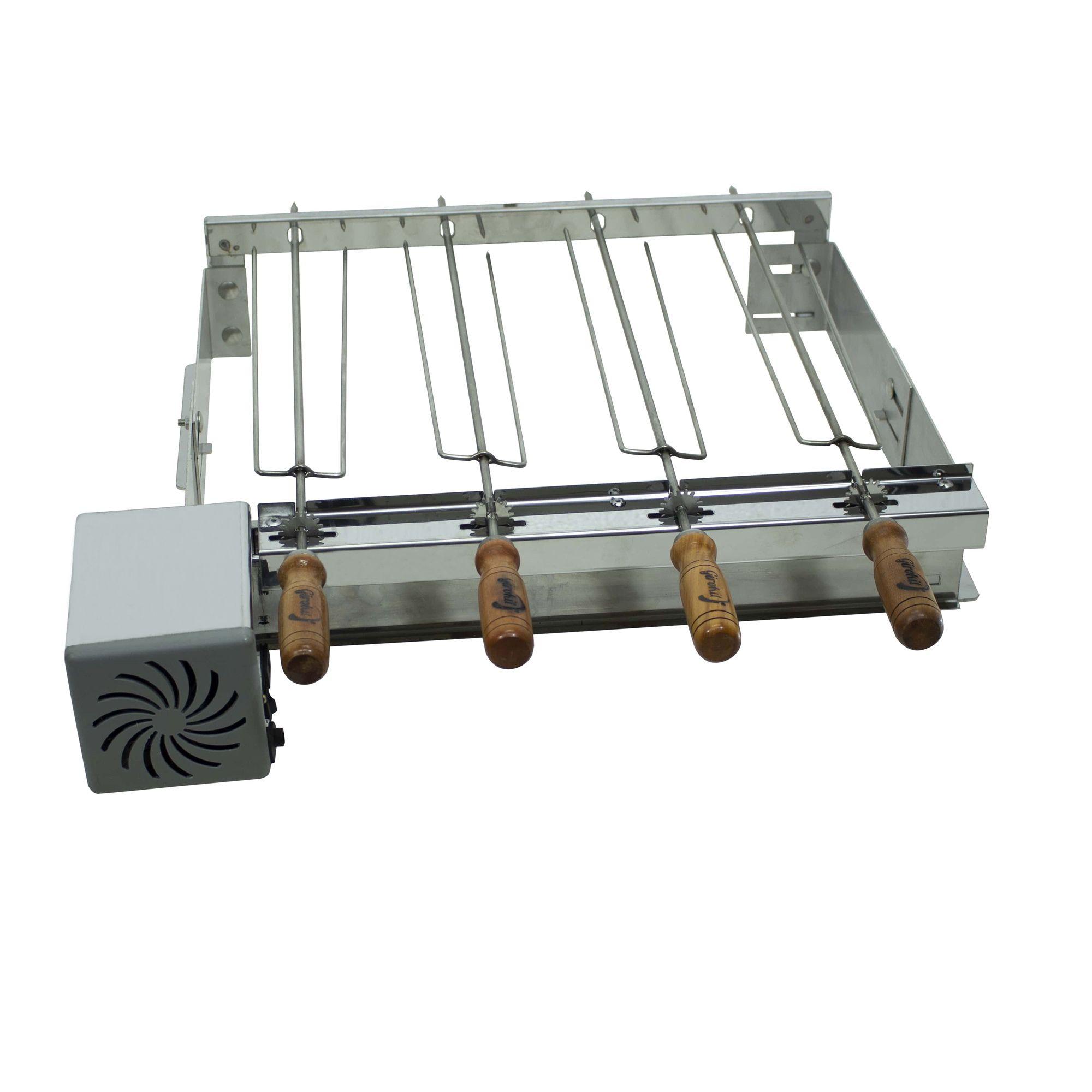 Churrasqueira de Inox Pre Moldada 4 Espetos Eletrica Giratória