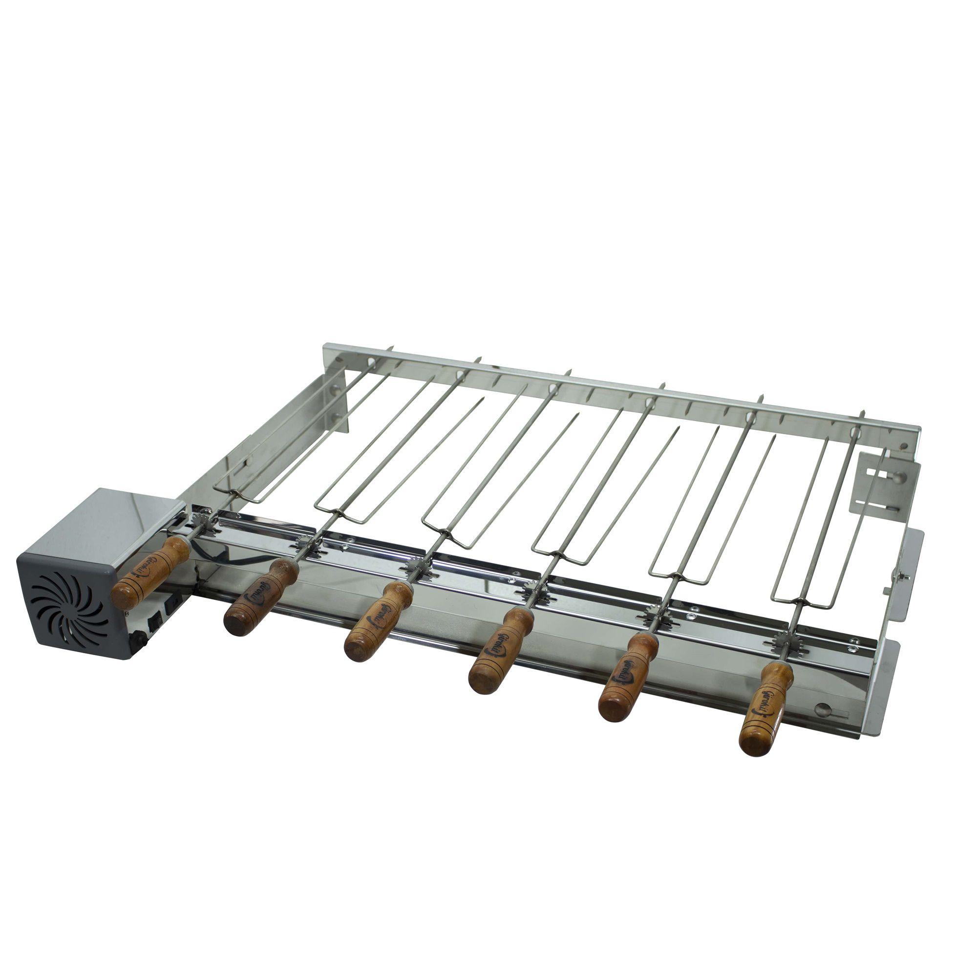 Churrasqueira de Inox Pre Moldada 6 Espetos Eletrica Giratória