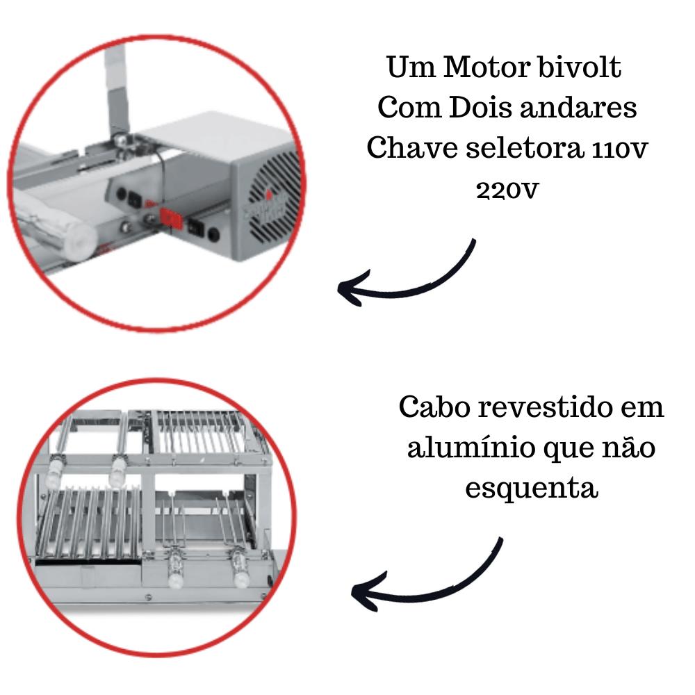 Churrasqueira Elétrica Giratória Inox 4 Espetos Modelo Conjugada 2A Mot Direito