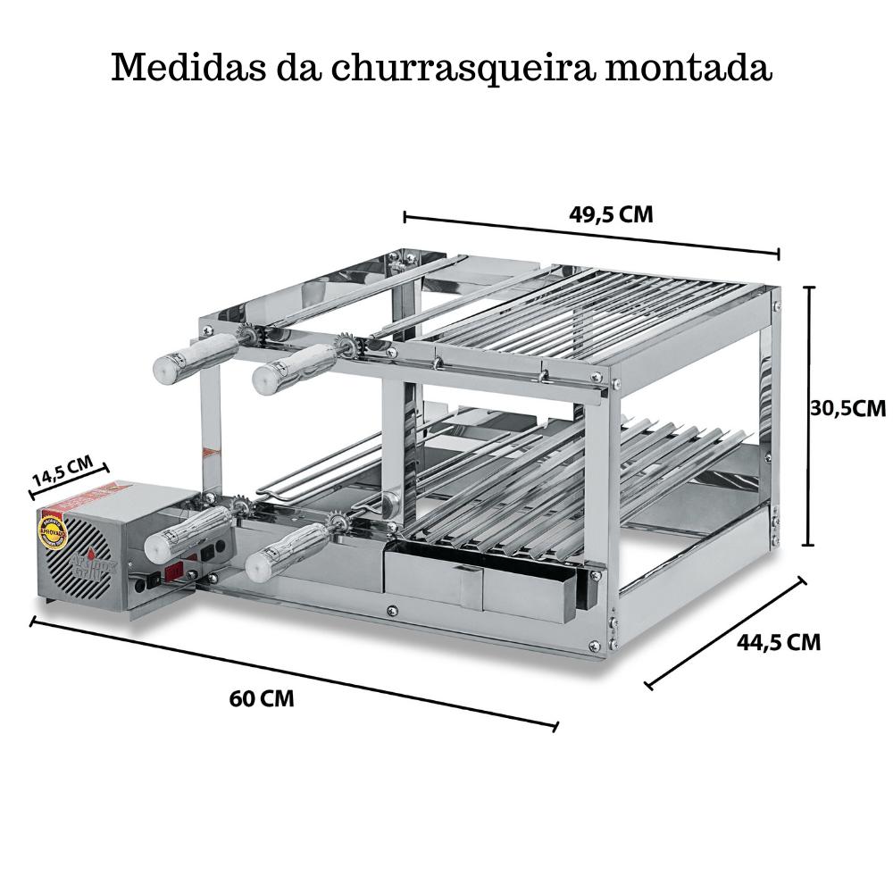 Churrasqueira Elétrica Giratória Inox 4 Espetos Modelo Conjugada 2A Mot Esquerdo