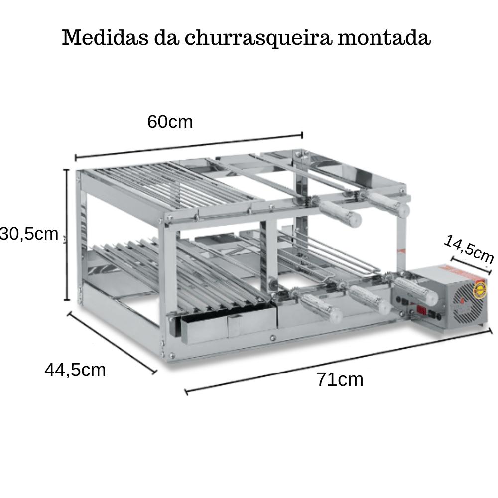Churrasqueira Elétrica Giratória Inox 5 Espetos Modelo Conjugada 2A Mot Direito